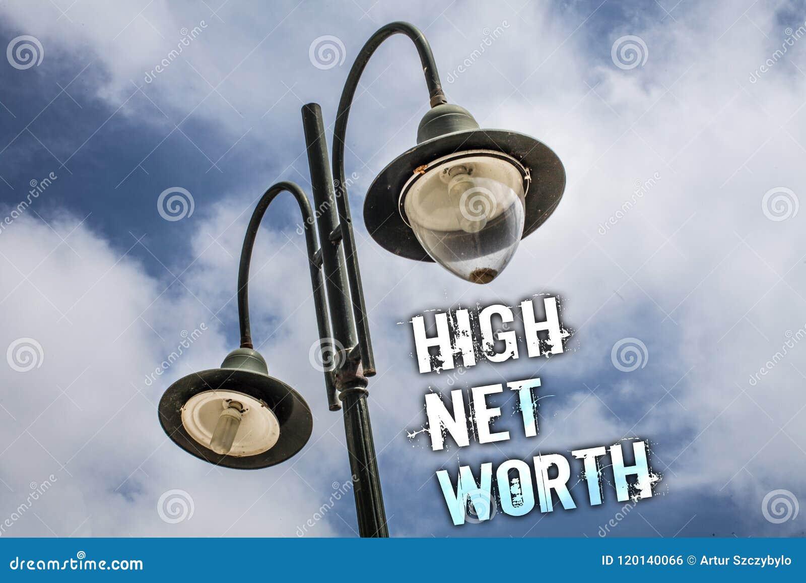 Tekstteken die Hoge Netto Waarde tonen Conceptuele hoogwaardig foto die iets dure a-Klasse bedrijf Dubbele Lichte posthemel hebbe