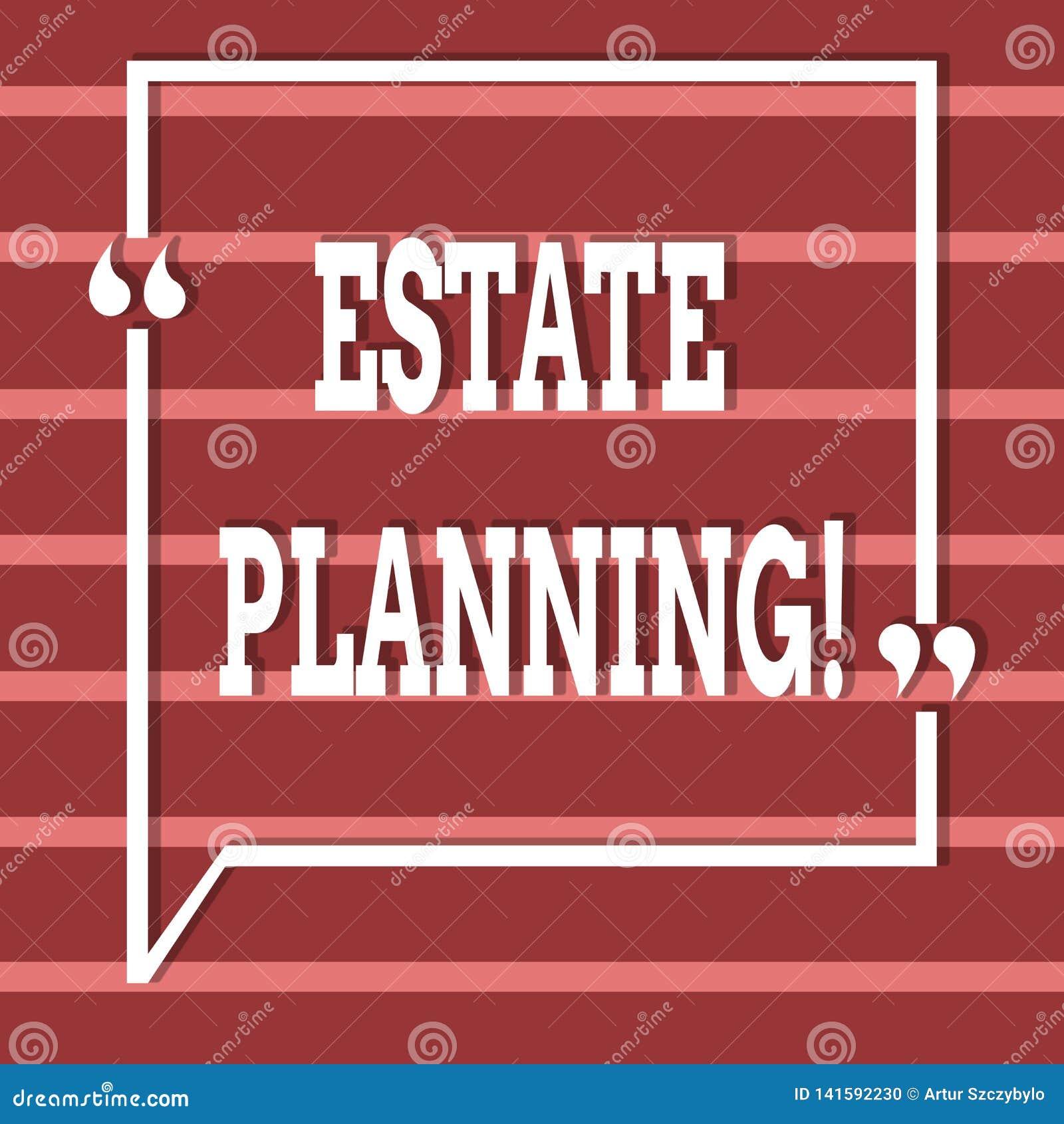 Tekstteken die Landgoed Planning tonen De conceptuele van de de Investeringspensionering van de fotoverzekering Eigenschappen van