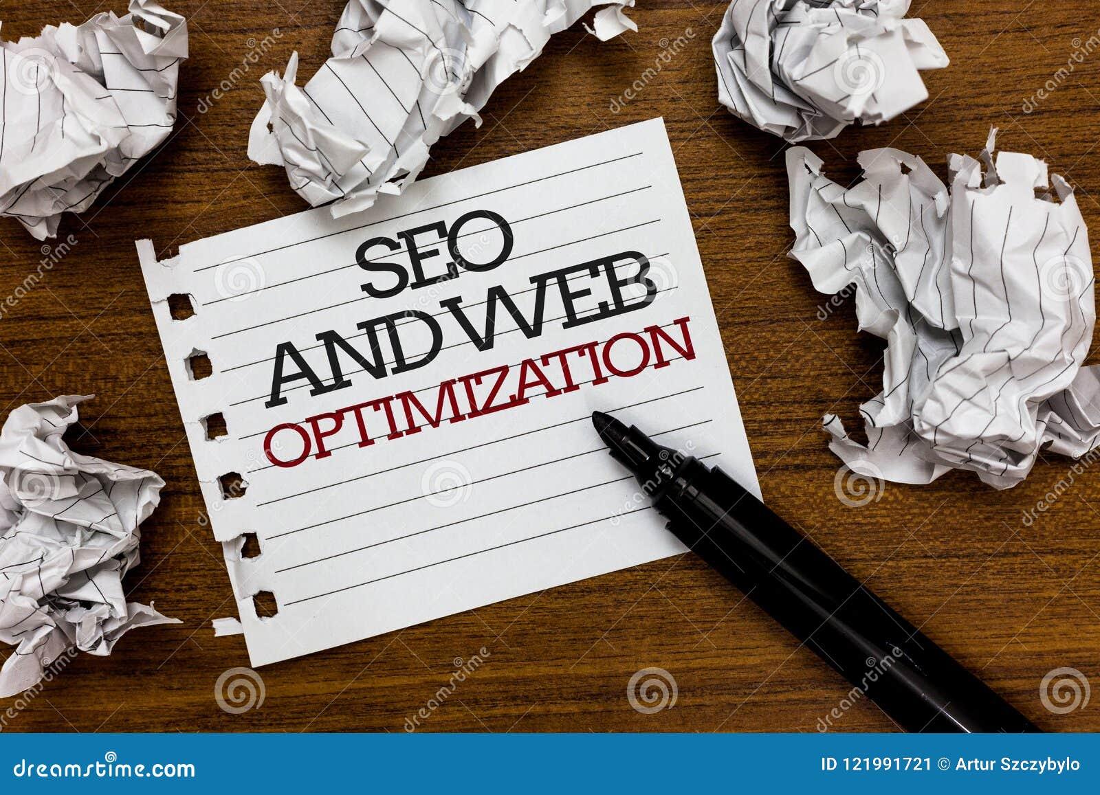Tekstteken die Seo And Web Optimization tonen De conceptuele de Marketing van Keywording van de fotozoekmachine Strategieëndocume