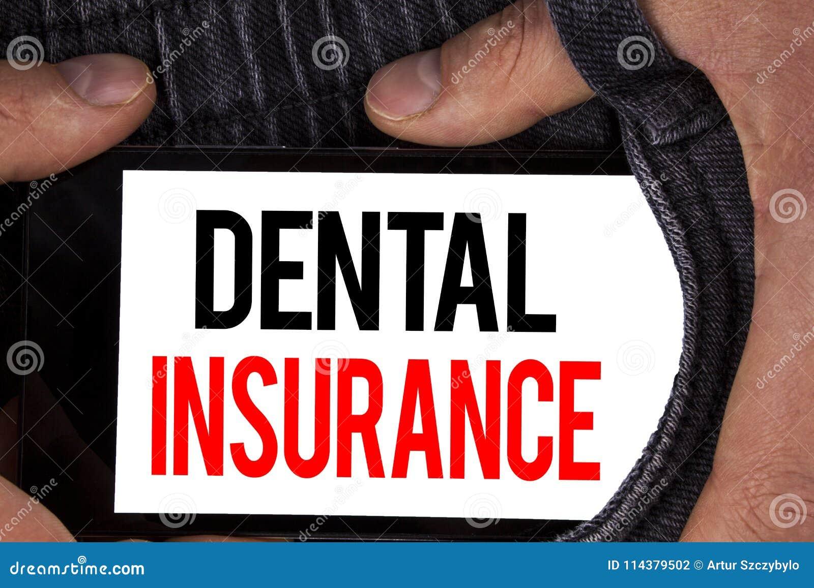 Tekstteken die Tandverzekering tonen De conceptuele die dekking van de de gezondheidszorgvoorziening van de fototandarts plant ei