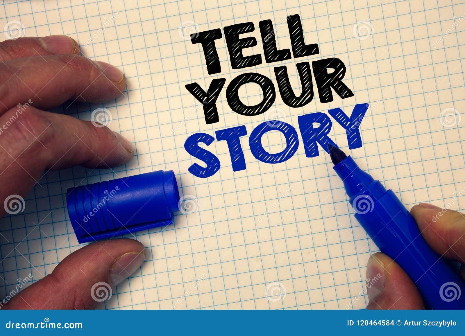 Tekstteken het tonen vertelt Uw Verhaal Conceptuele foto die uw gevoel uitdrukken die schrijvend uw biografiemillimeterpapier gri