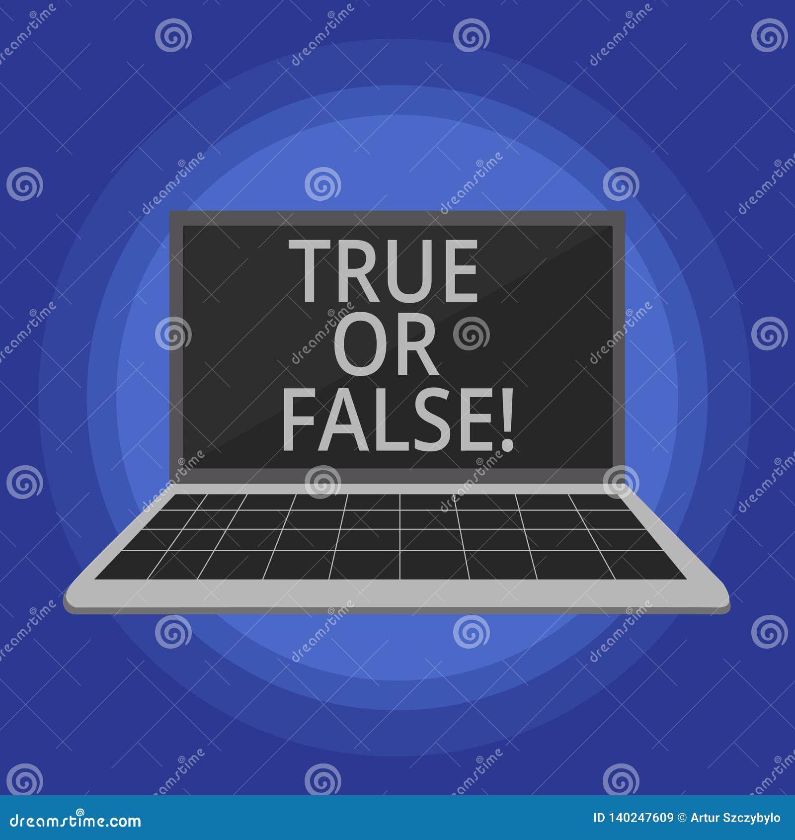 Tekstteken Waar of Vals tonen De conceptuele foto beslist tussen een feit of het vertellen van een verwarring van de leugentwijfe