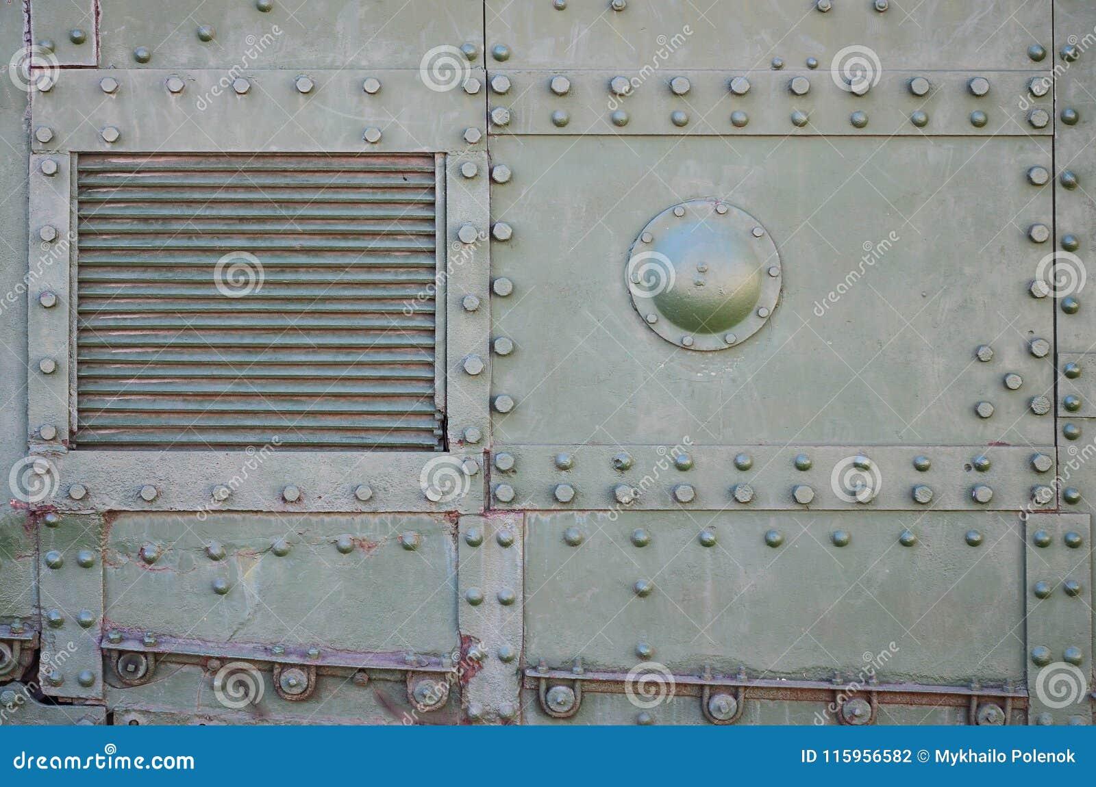 Tekstura ściana zbiornik robić metal i wzmacniająca z bezlikiem, rygle i nity Wizerunki nakrycie