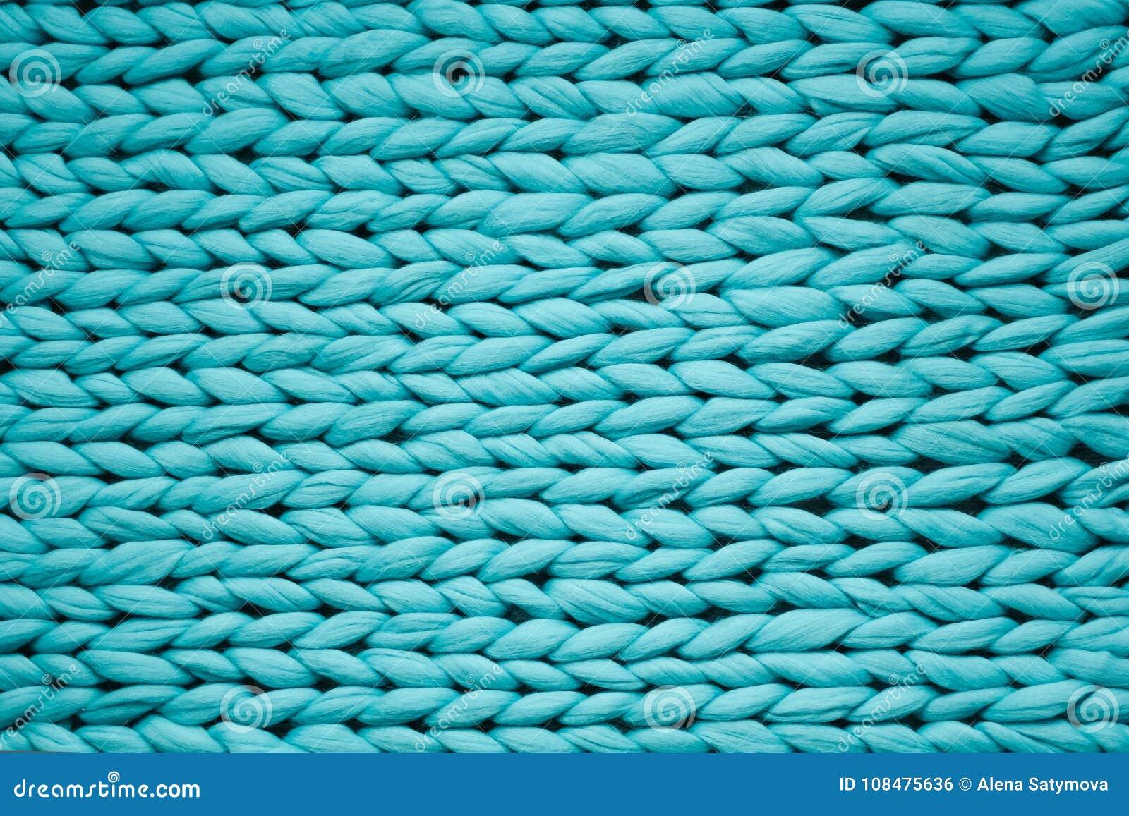 Tekstura błękitna dzianiny koc Wielki dzianie Szkocka krata merynosów wełna Odgórny widok