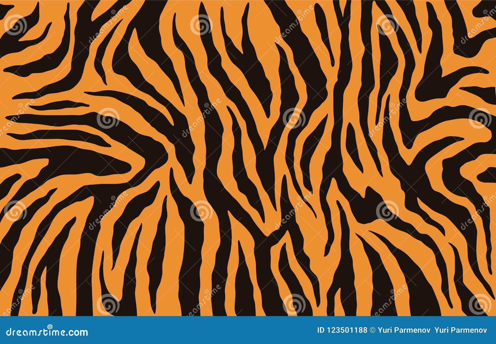 Tekstura Bengal tygrysa futerko, pomarańcze lampasów wzór Zwierzęcej skóry druk Safari tło wektor