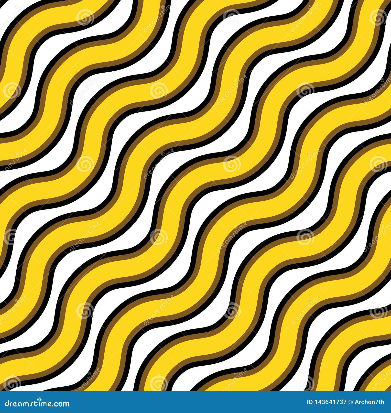 Tekstura bezszwowy wektor Wielostrzałowy wzór falisty złoto i czerń wykłada