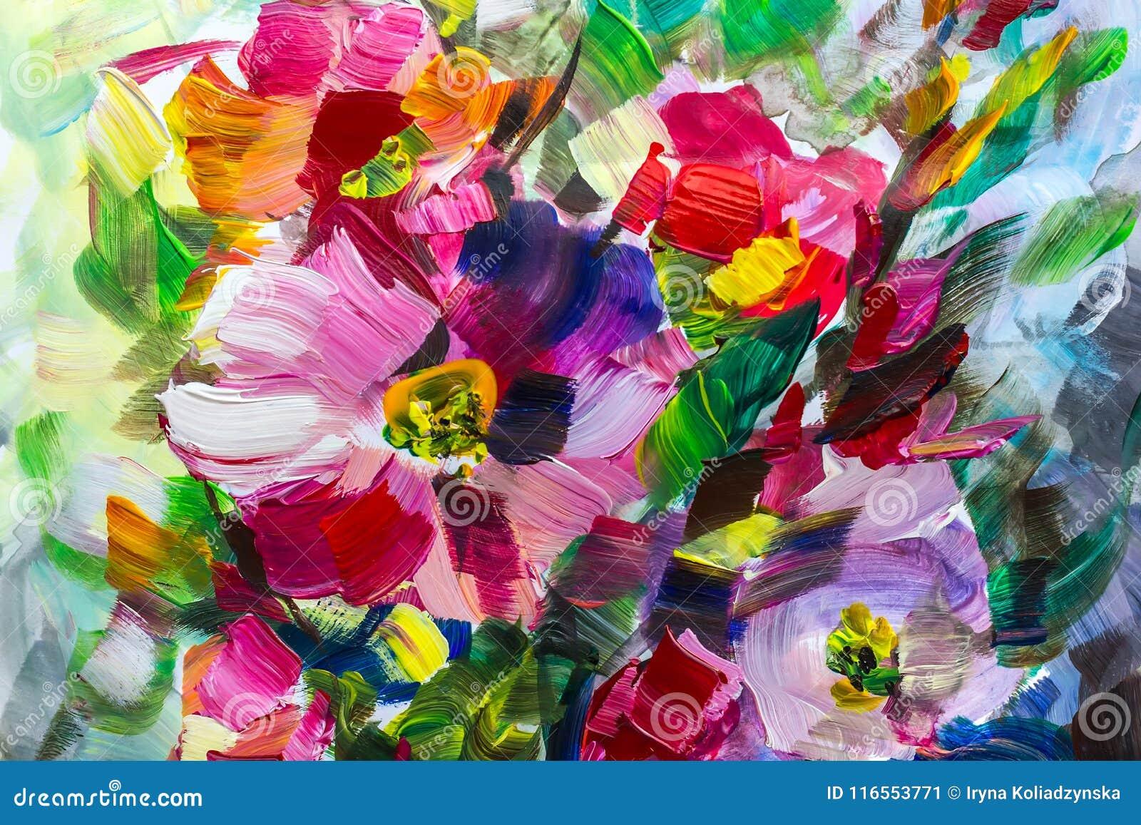 Tekstura obraz olejny kwitnie, malujący żywych kwiaty, kwiecistych