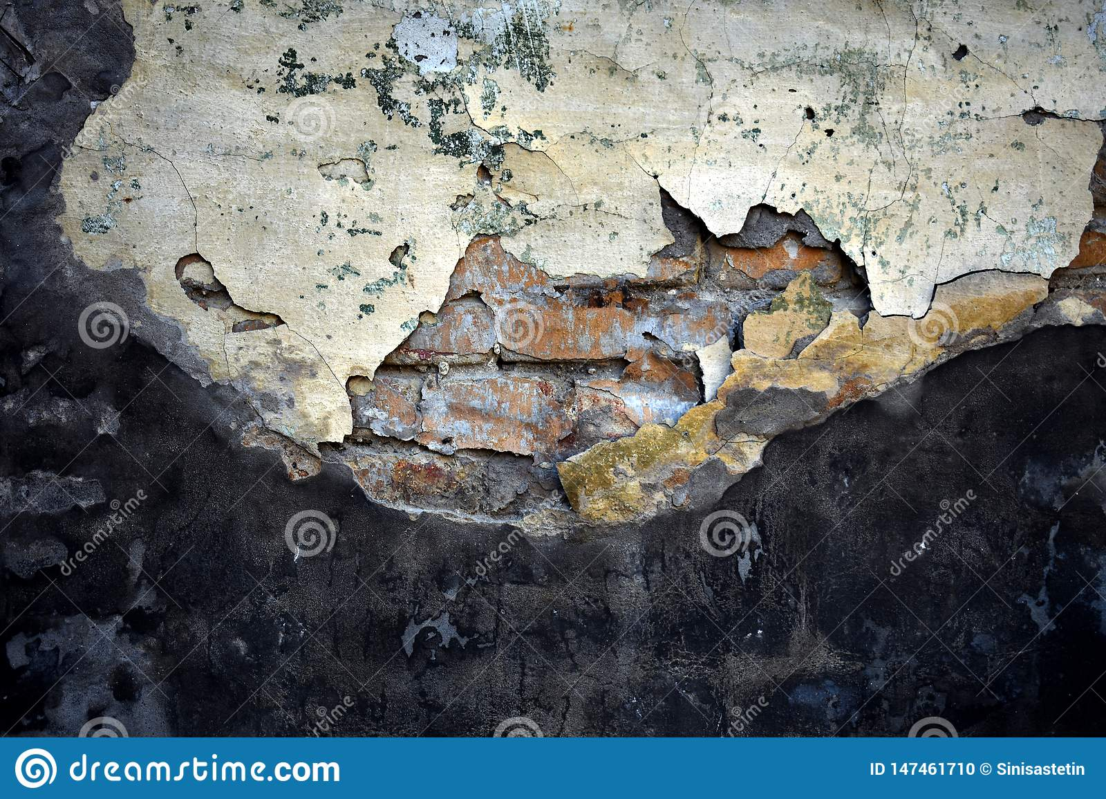 Tekstura stary zniweczony cement nad ?cian? z cegie?
