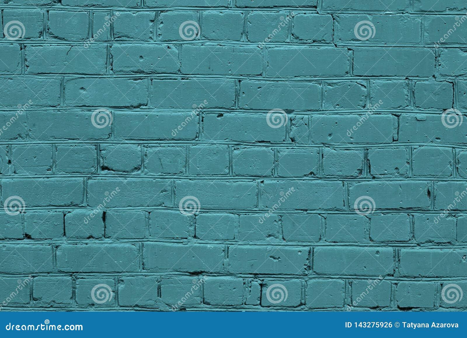 Tekstura turkusowa ściana z cegieł Zielona tekstury ściana z cegieł Turkusowy ściany z cegieł tekstury tło Błękitnego kamienia tł