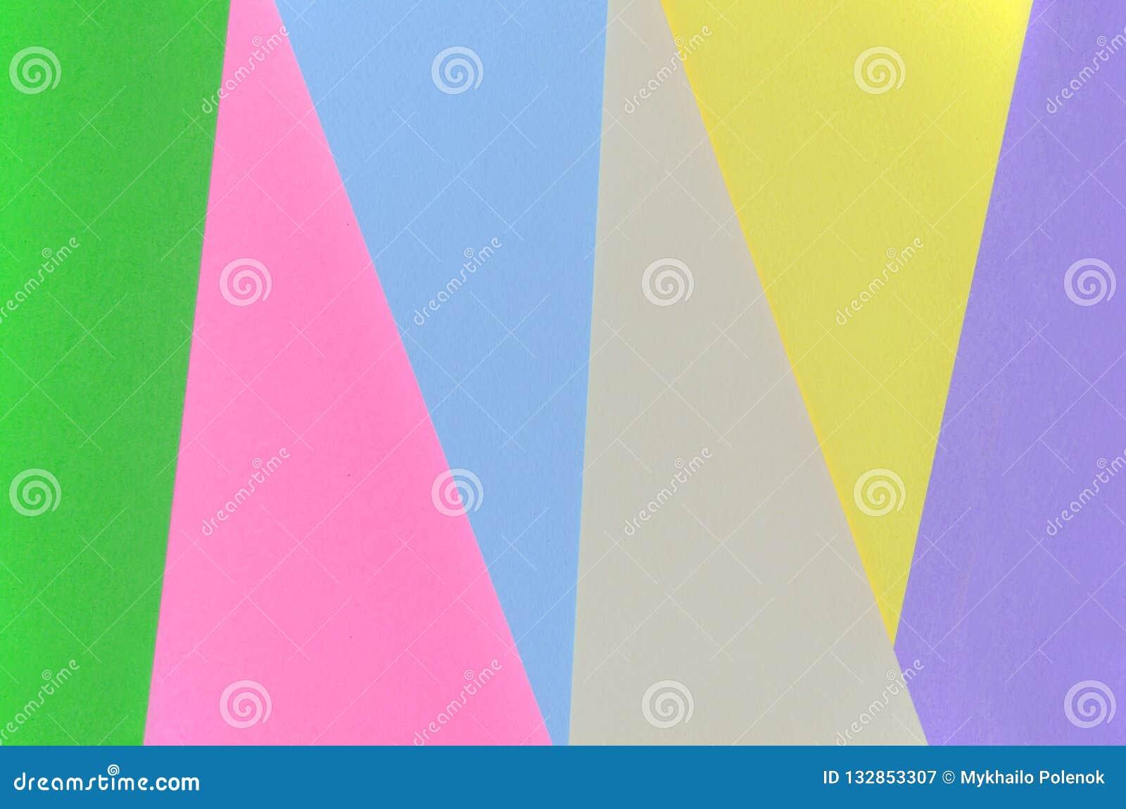 Tekstury tło moda pastelowi kolory Menchie, fiołek, kolor żółty, zieleń, beż i błękitni geometryczni wzorów papiery, minimalizm