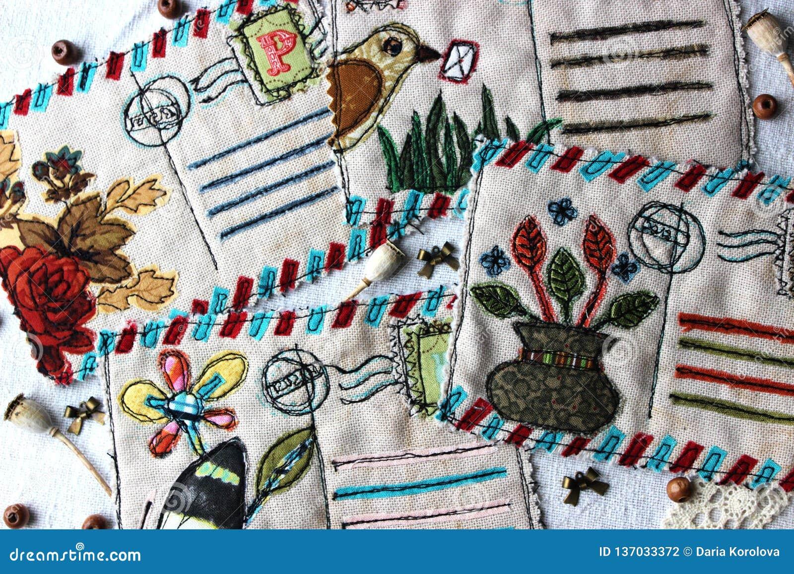 Tekstylne rocznik pocztówki