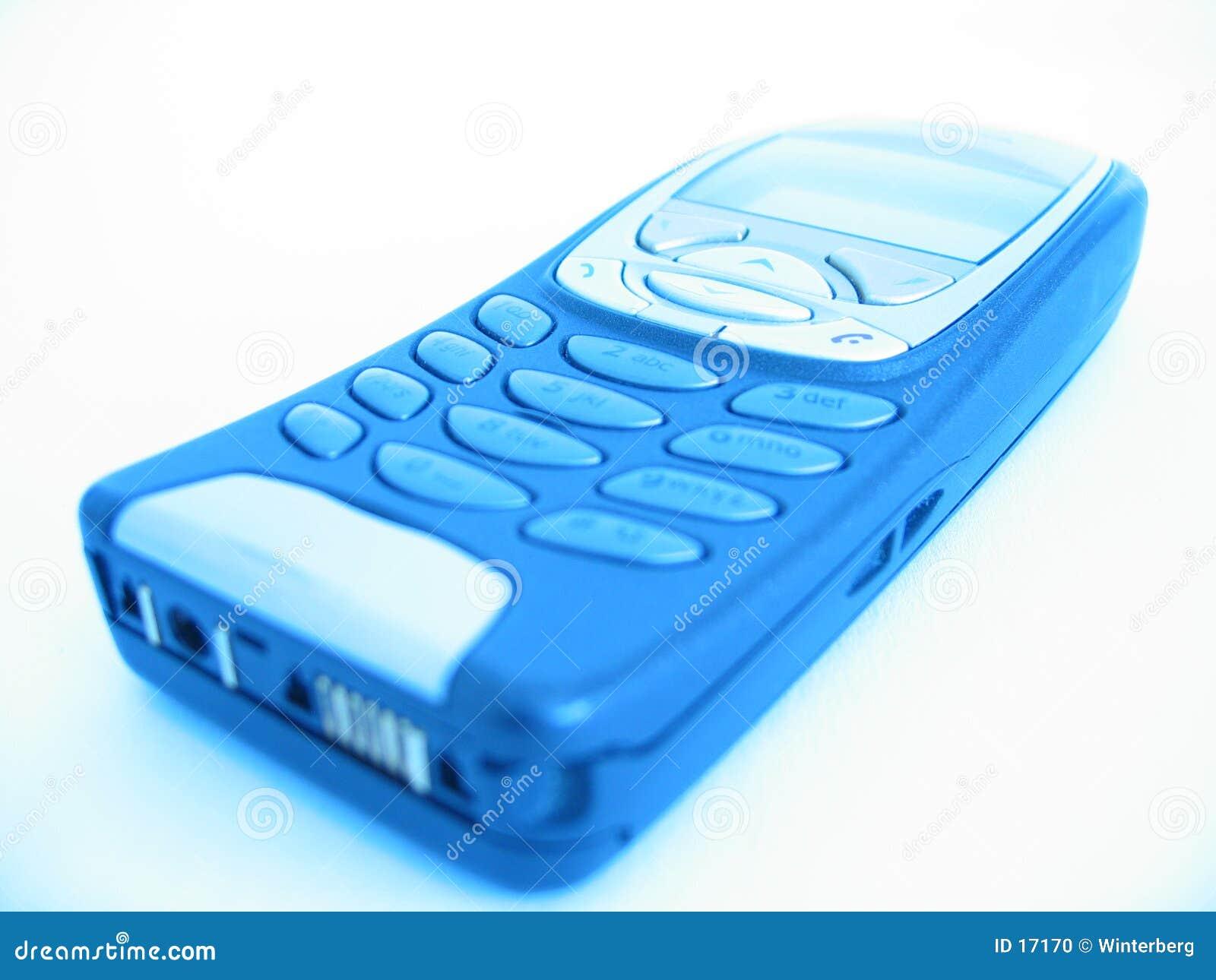 Teléfono celular en brillo azul