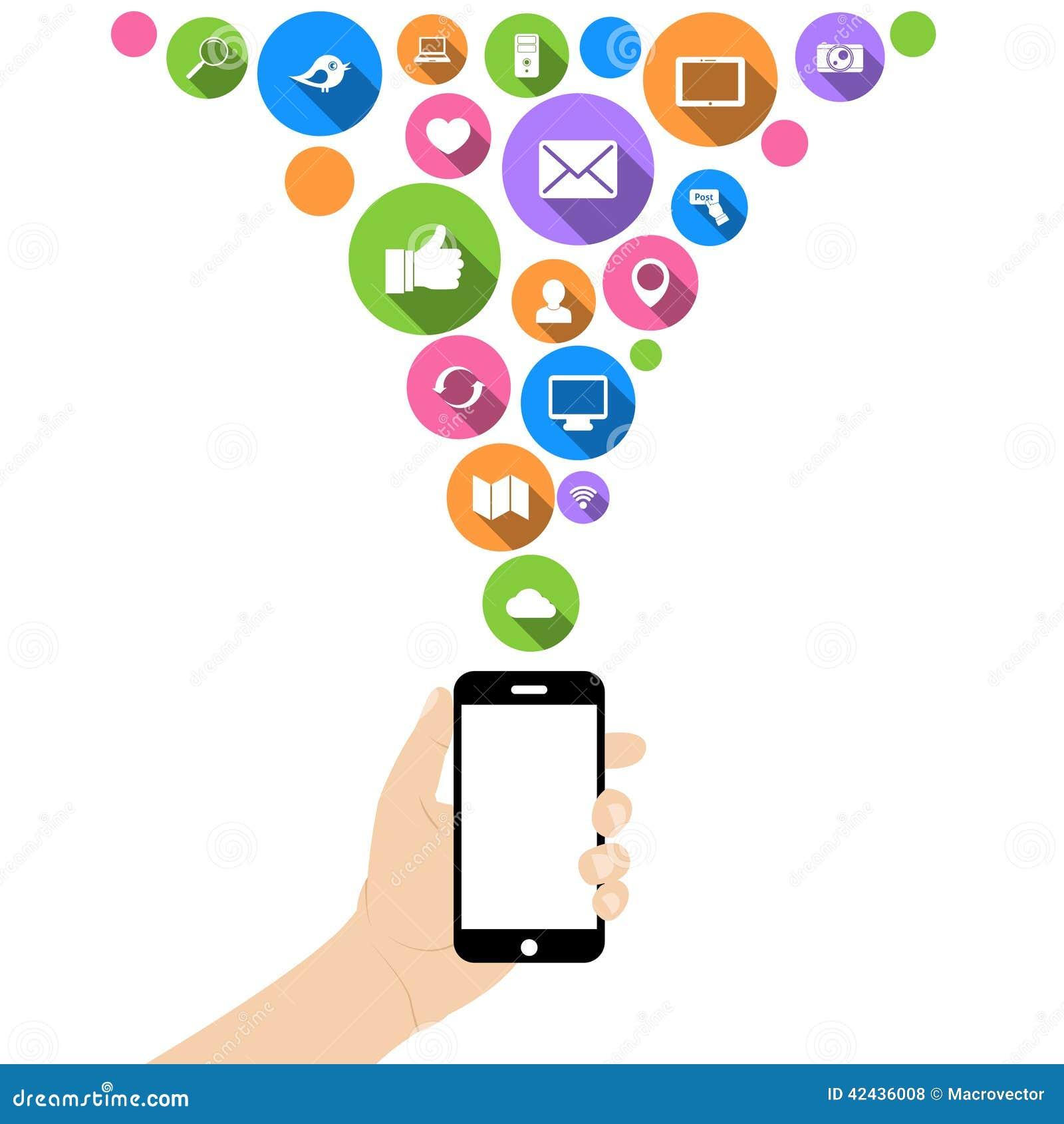 Teléfono del control de la mano con los iconos