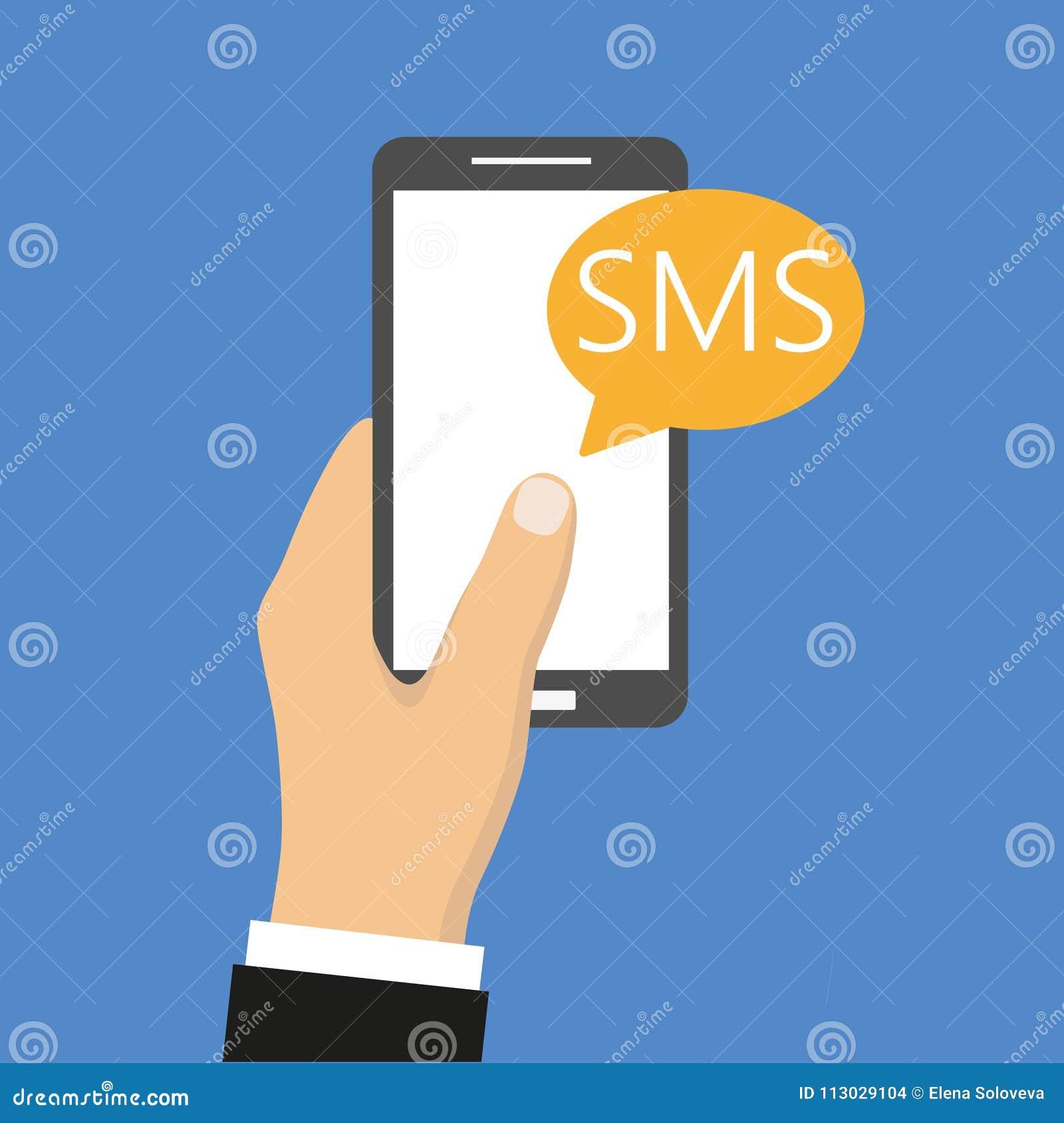 Teléfono del ejemplo con el mensaje del SMS en un fondo azul