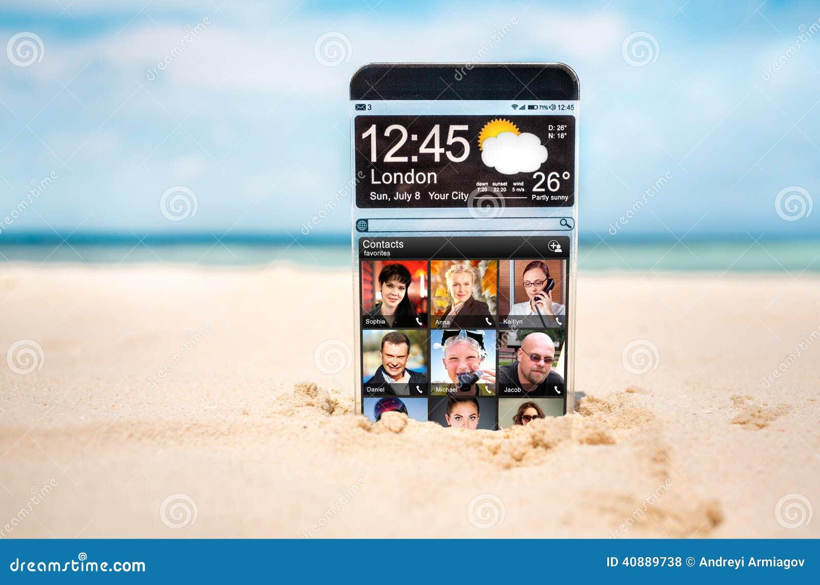 Teléfono elegante con una exhibición transparente