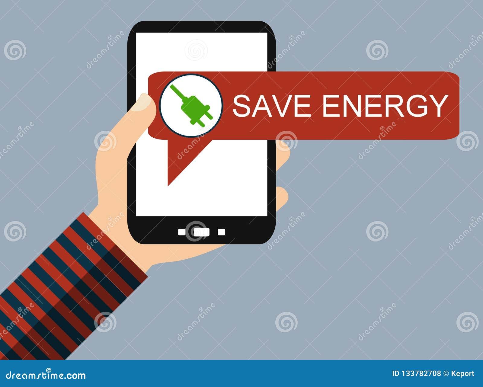 Teléfono móvil: Ahorre la energía - diseño plano