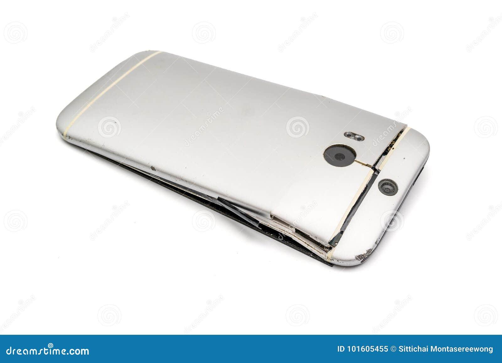 Teléfono móvil a caer hasta la grieta