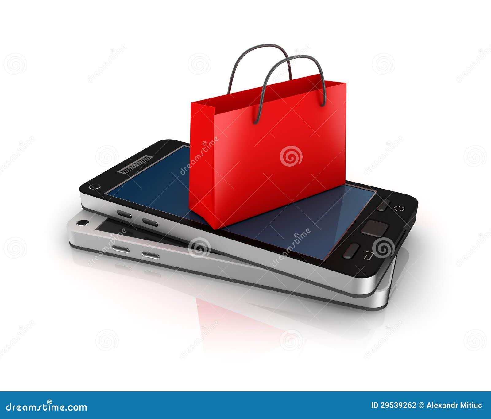 Teléfono móvil con el bolso de compras. Concepto en línea de las compras.