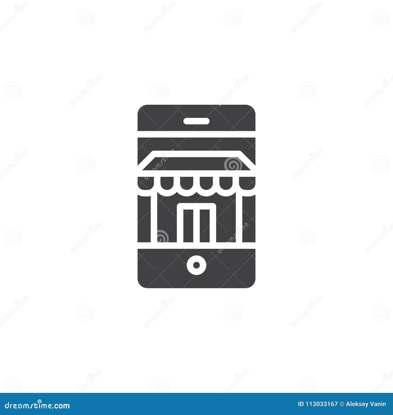 Teléfono móvil con el icono del vector de la tienda