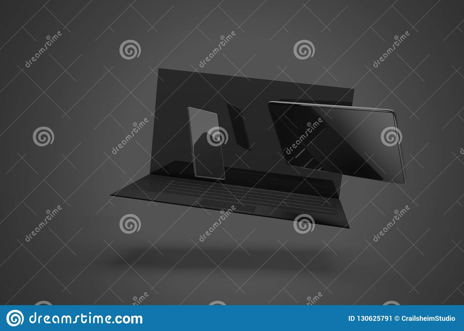 Teléfono móvil 3d-illustration de la tableta de ordenador portátil del cuaderno del ordenador