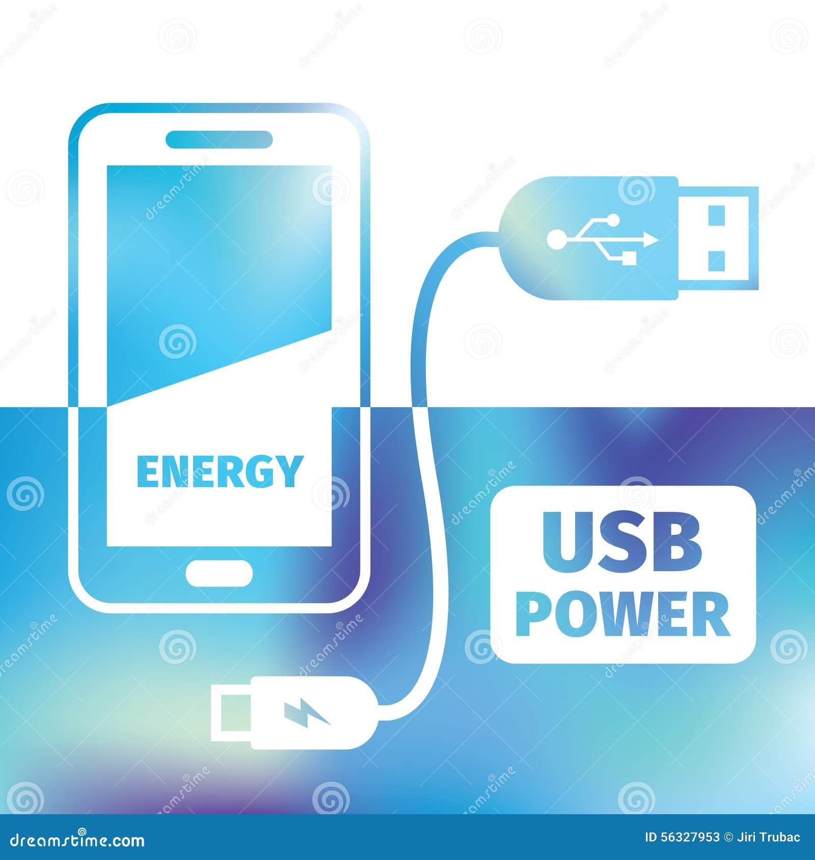Teléfono móvil de carga - conexión USB - recarga de energía