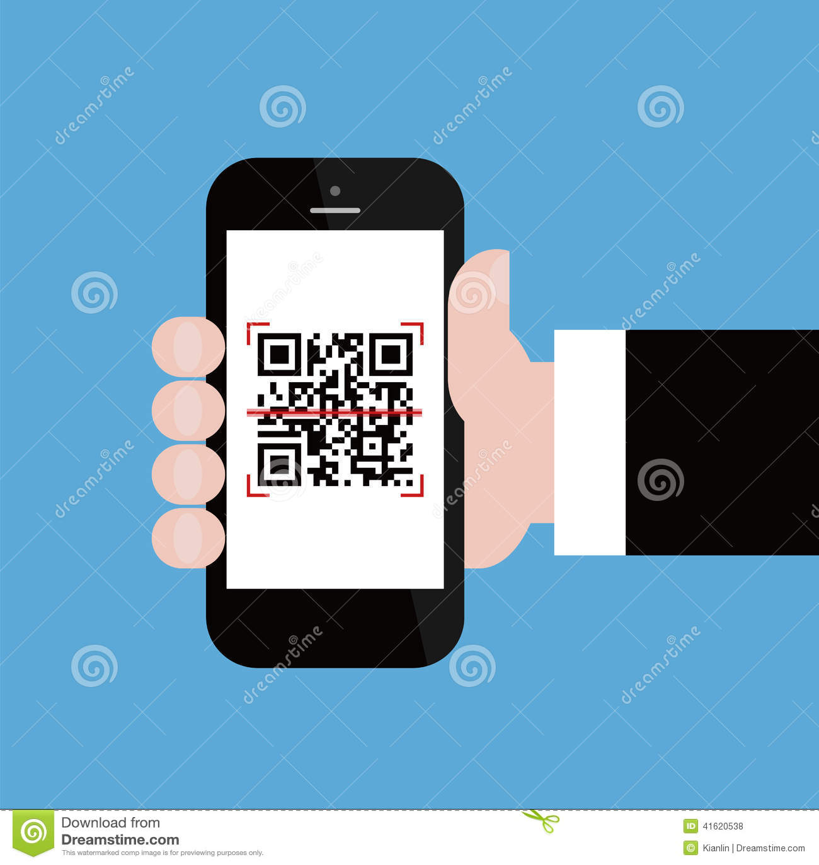 Teléfono móvil en código del qr de la exploración de la mano del hombre de negocios