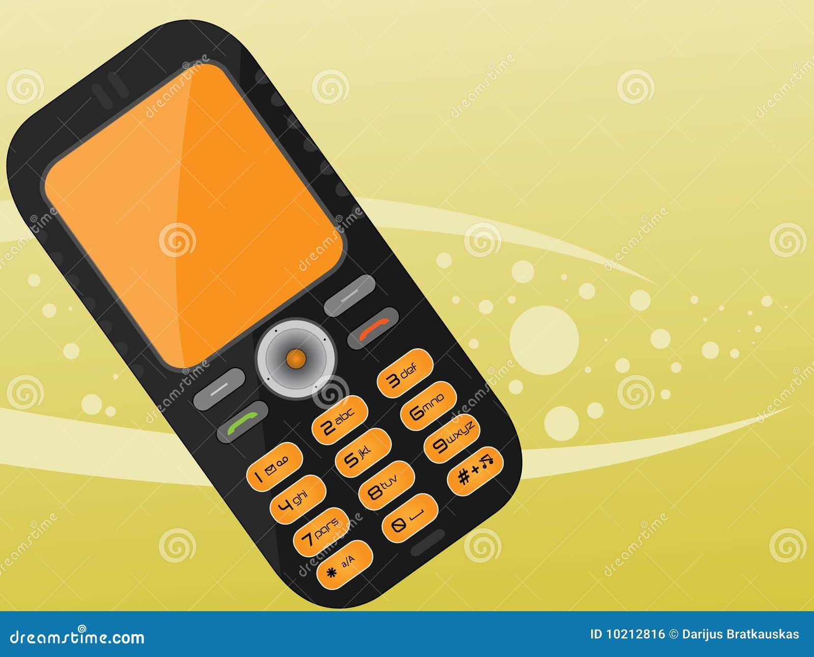 Teléfono móvil negro anaranjado