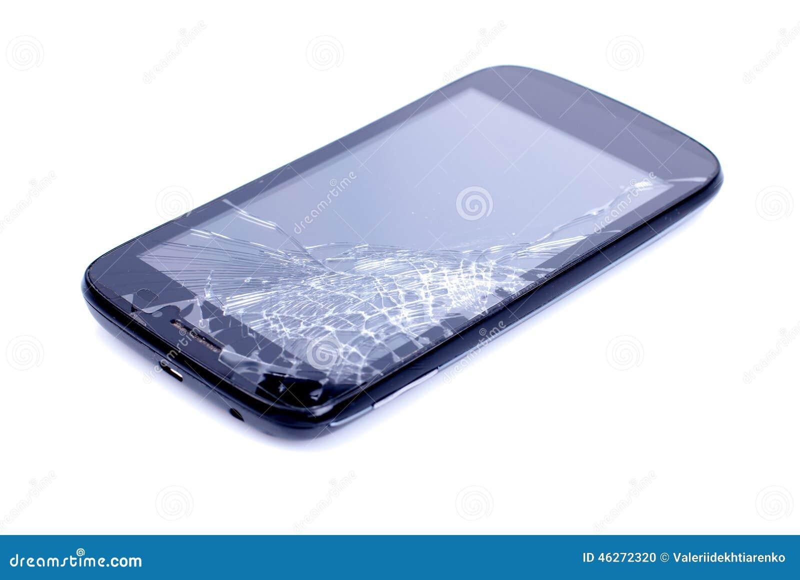 Teléfono móvil negro con una pantalla quebrada en un backgroun aislado