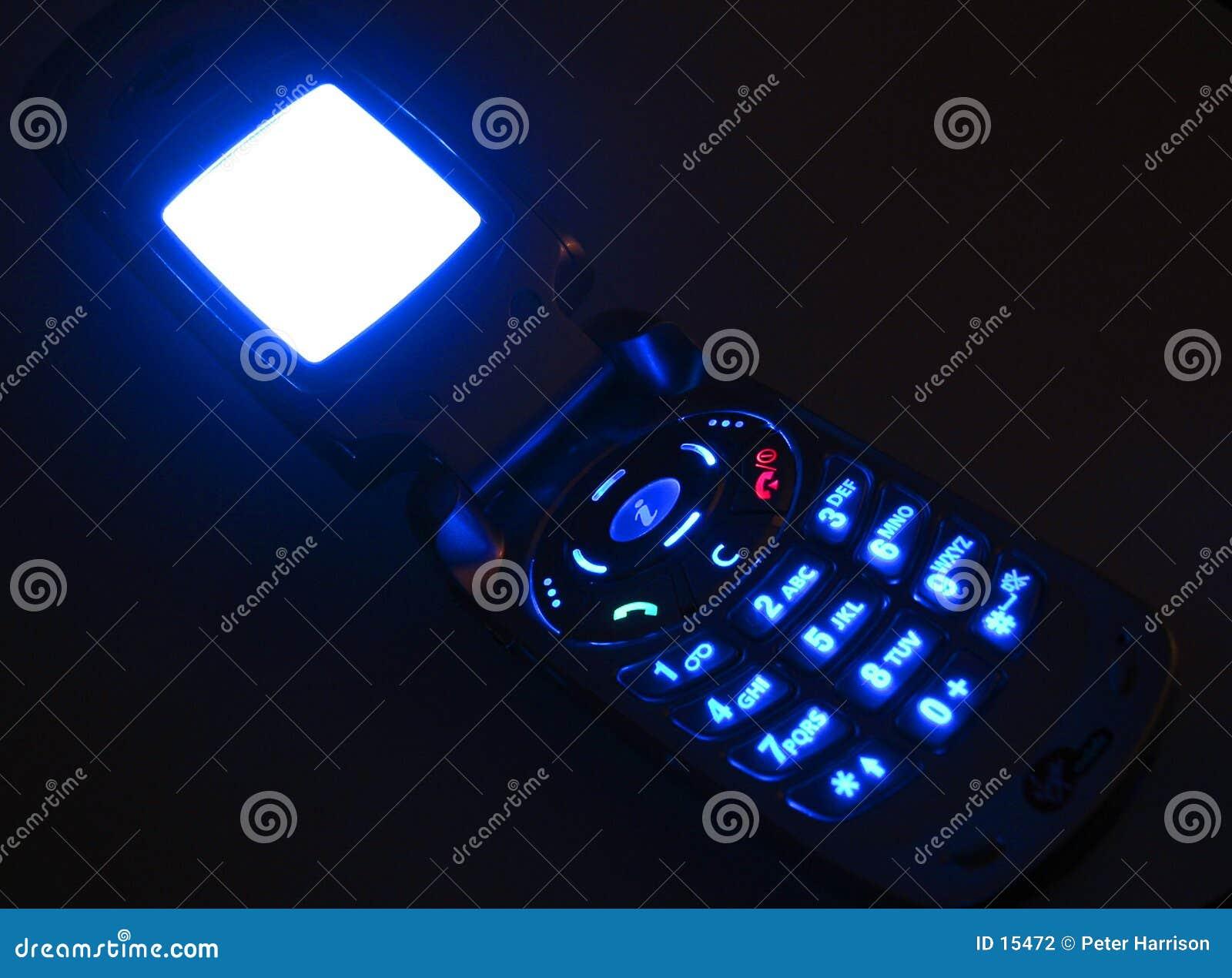 Teléfono móvil que brilla intensamente