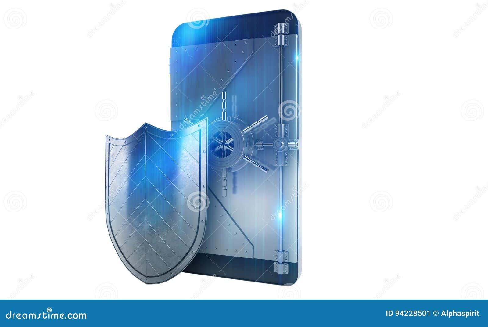 Teléfono móvil seguro del ataque del pirata informático como una caja fuerte representación 3d