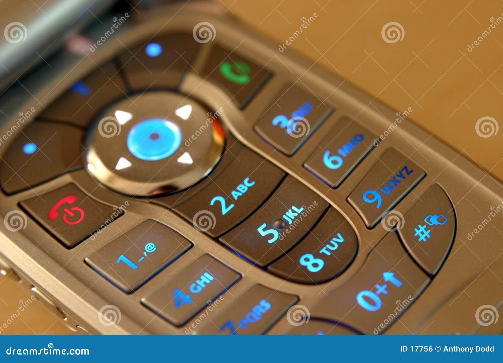 Teléfono móvil, telclado numérico iluminado