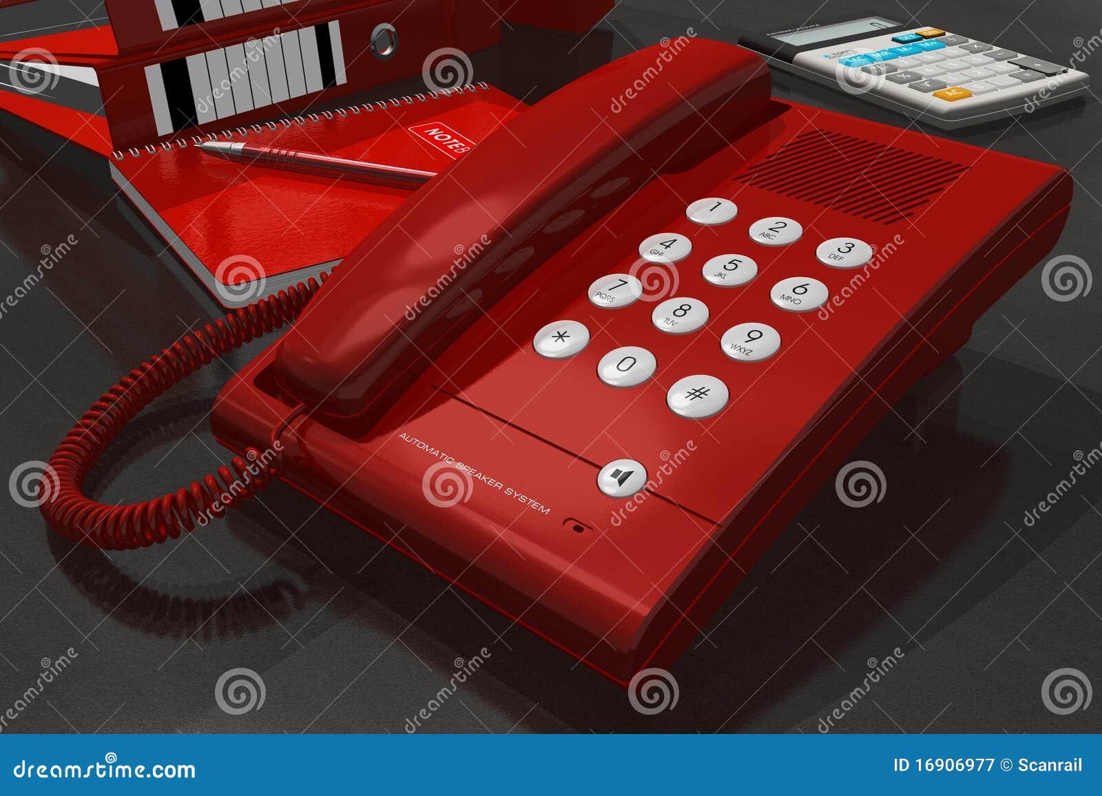 Tel fono rojo en el vector de la oficina fotograf a de for Telefono de la oficina