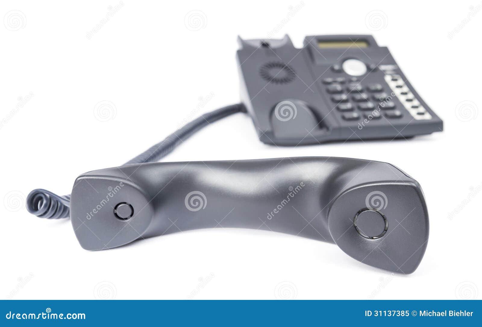 Teléfono simple del negocio en el fondo blanco