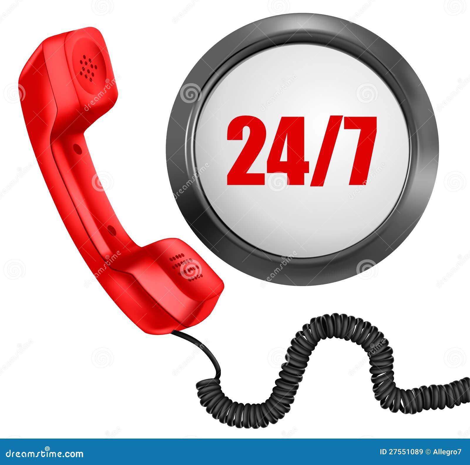 Teléfono y 24/7 botón. 24 horas en día
