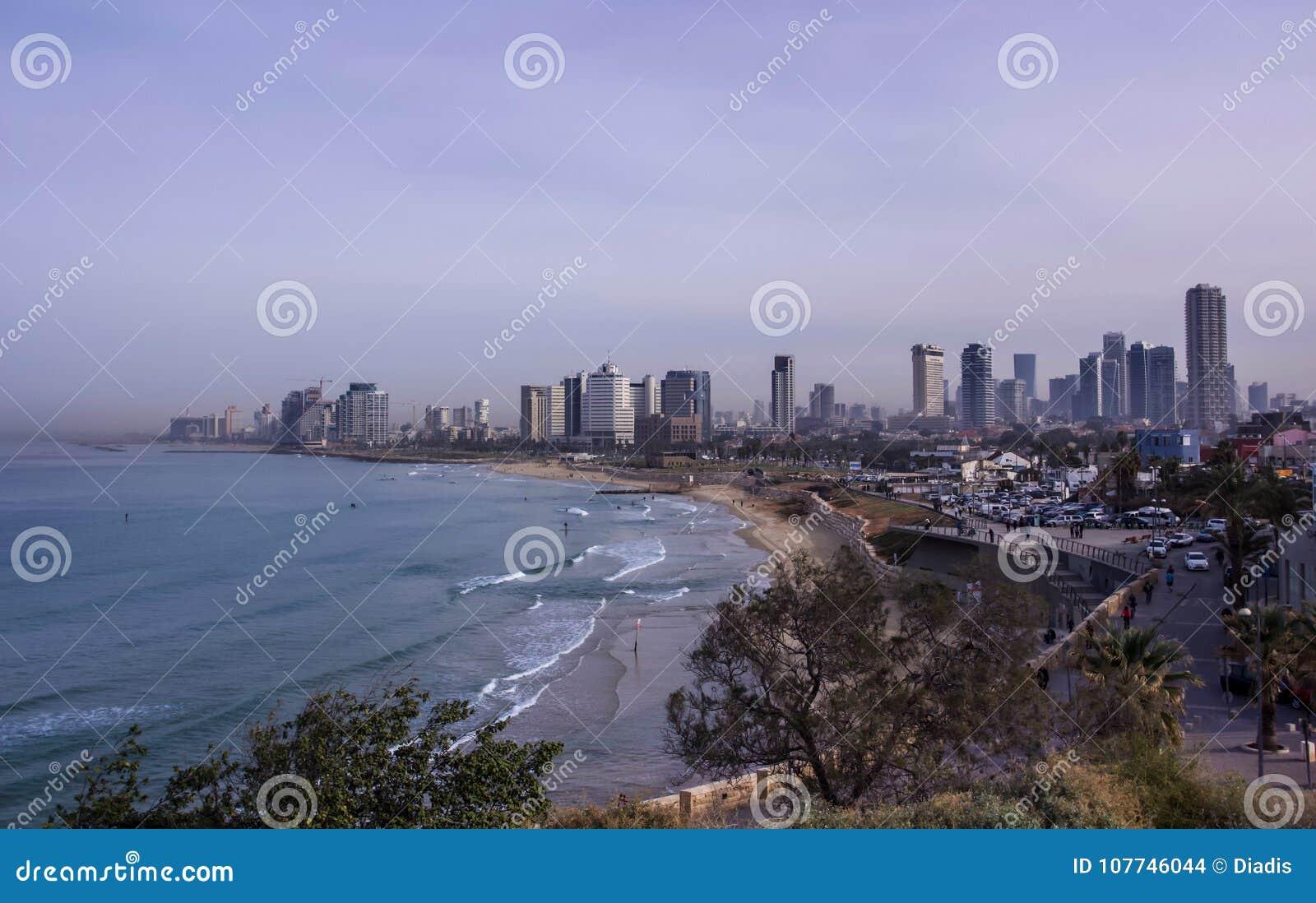 Tel Aviv beach and city Skyline in the morning mist Israel