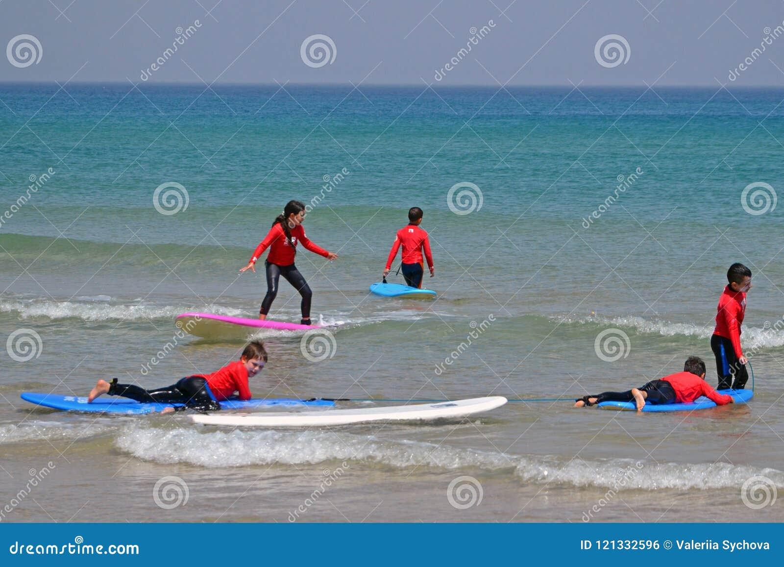 Tel Aviv Israel 04 05 2017 Children Catch A Wave