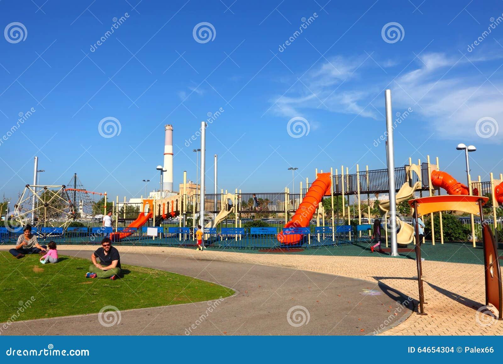 TEL AVIV,ISRAEL,NOVEMBER 20,2015: Playground on New embankment of Tel Aviv (in the past - Port of Tel Aviv).