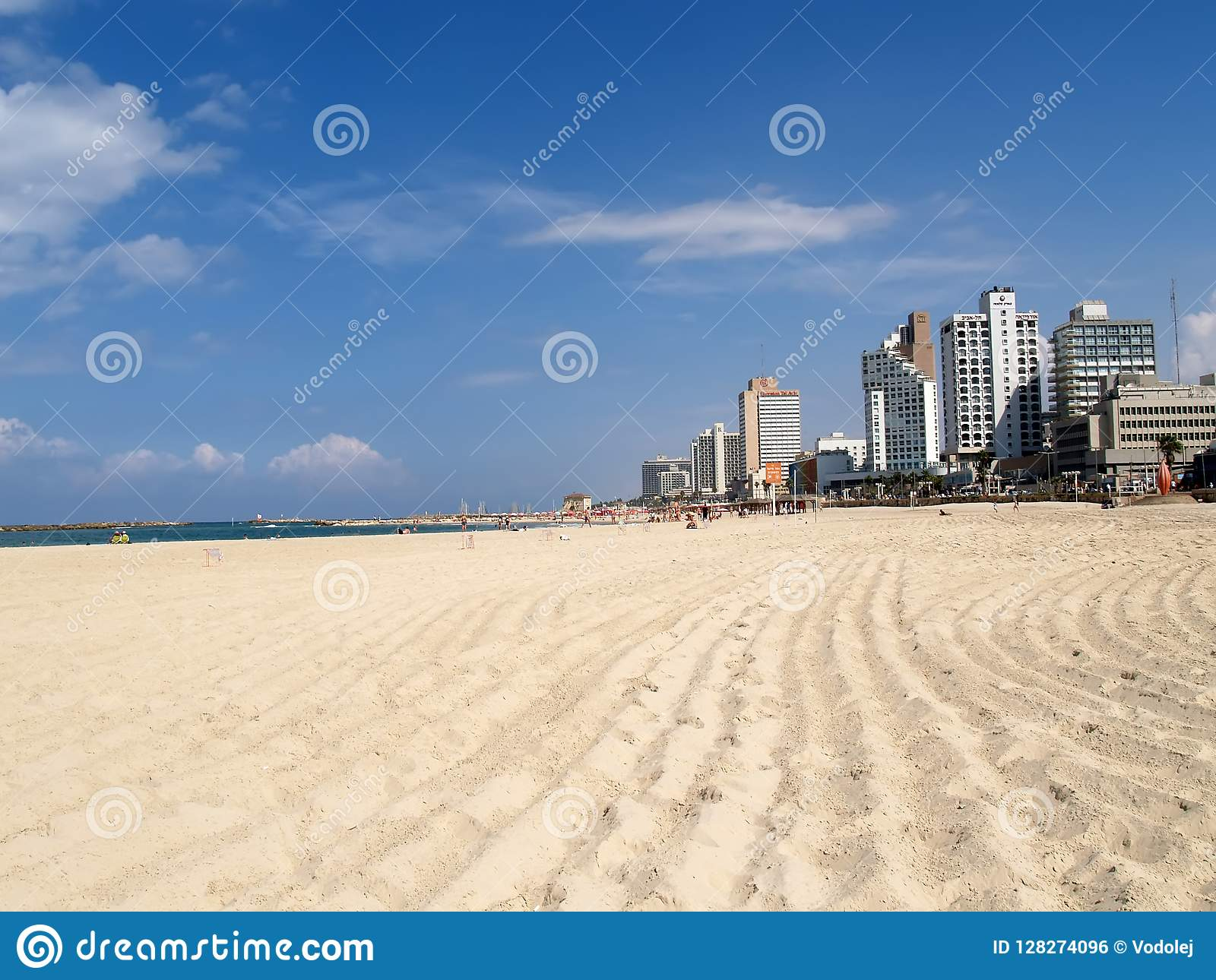 TEL AVIV, ISRAEL. A view of the city beach in Tel Aviv