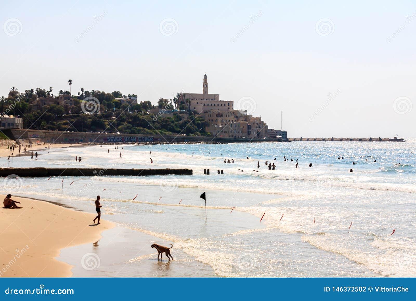 Tel Aviv, Israele - 9 settembre 2011: Vista della passeggiata di Giaffa La gente che si rilassa sul telefono Baruch della spiaggi