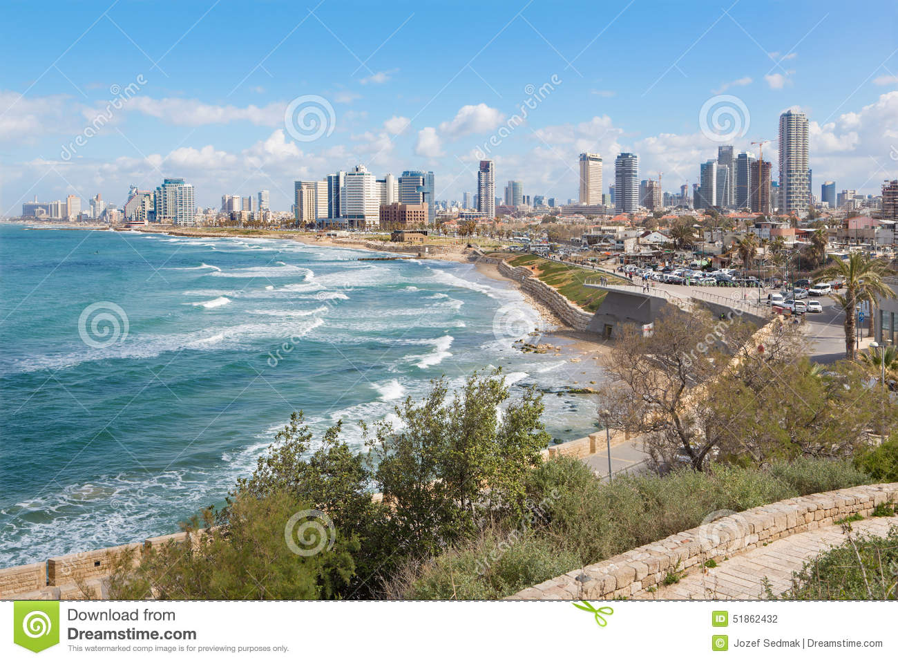 tel aviv les perspectives au bord de mer et la ville de vieux jaffa photographie ditorial. Black Bedroom Furniture Sets. Home Design Ideas