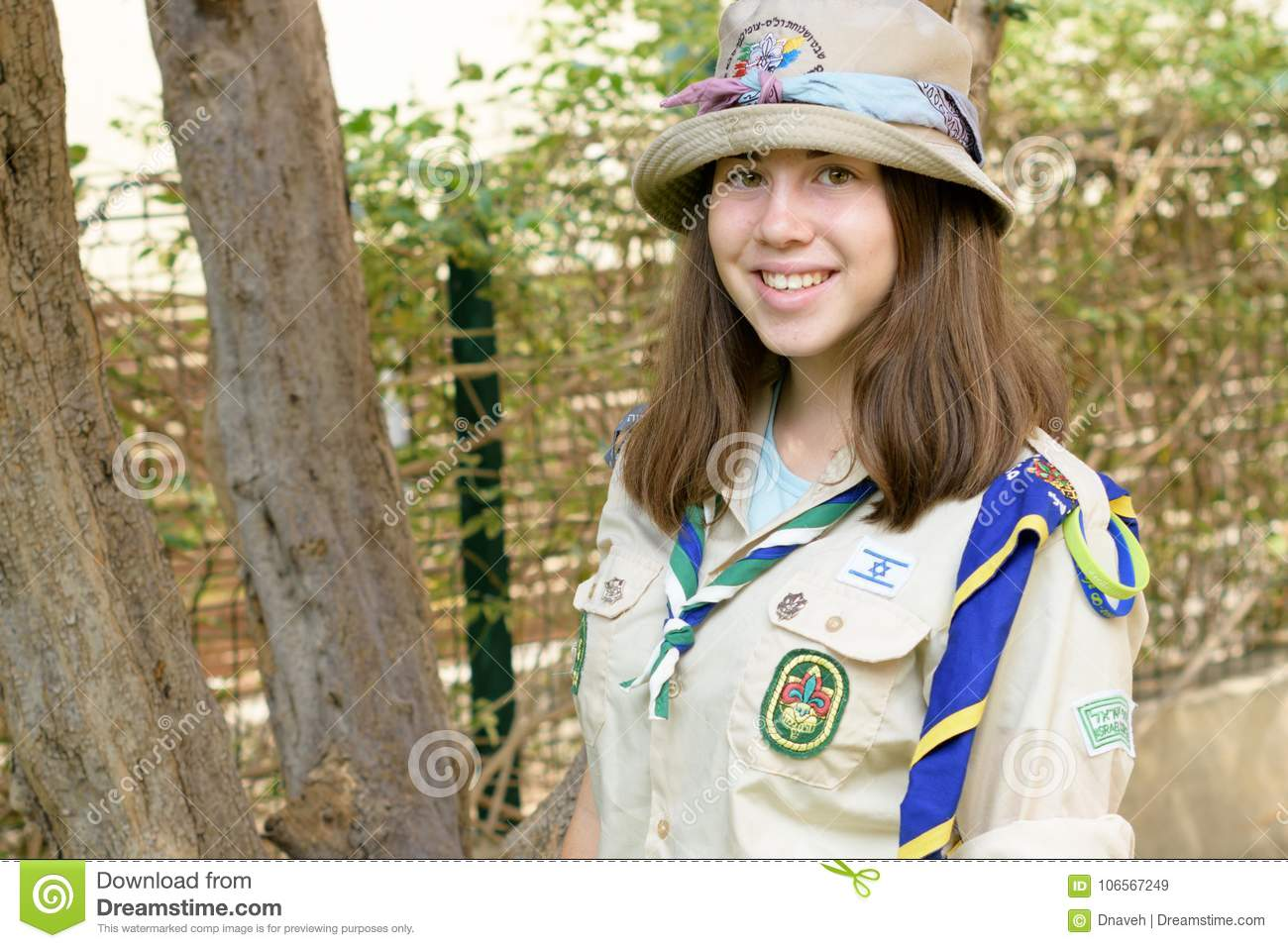 Israel Girl Scouts Young Guide In Uniform Editorial Stock