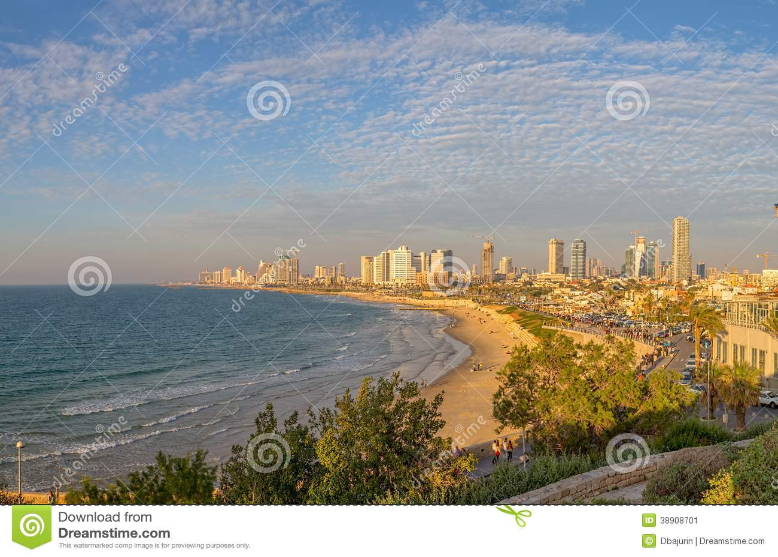 tel aviv skyline editorial photo image 38908701