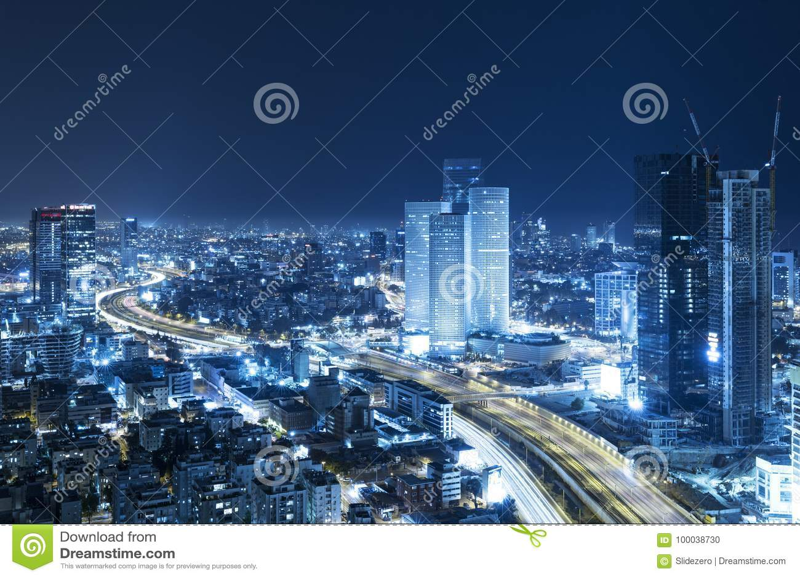 Tel Aviv Skyline At Night, Skyscraper