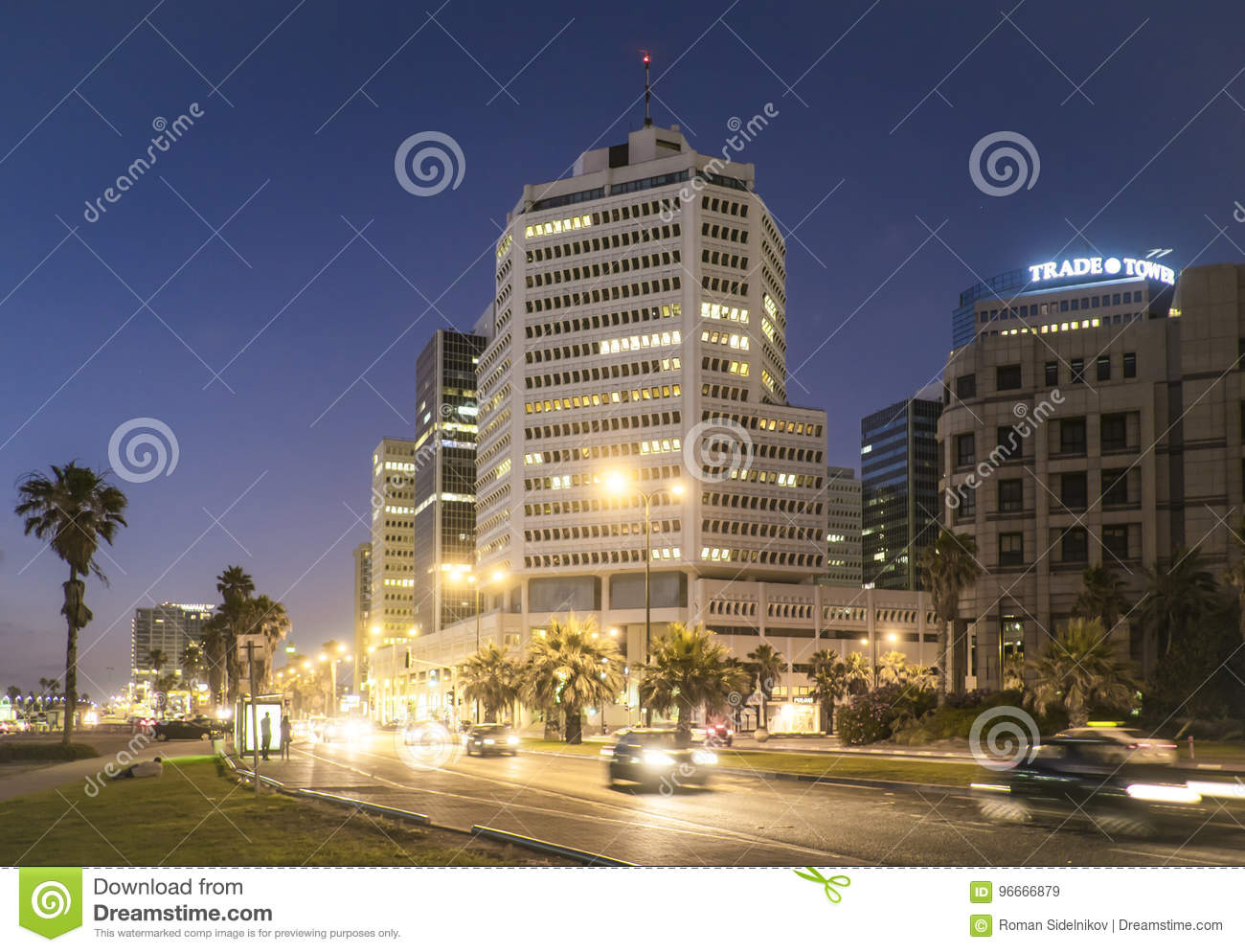 Tel Aviv 10.06.2017: Tel Aviv promenade night scene and transportation