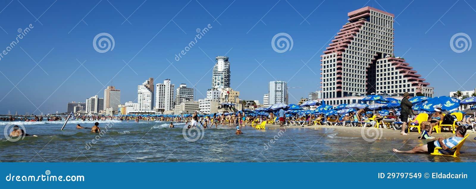 Tel Aviv plaża & Hotelowa pasek panorama