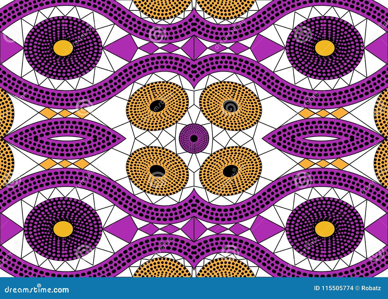 Tela africana de la impresión, ornamento hecho a mano étnico para sus elementos geométricos del diseño, étnicos y tribales de los