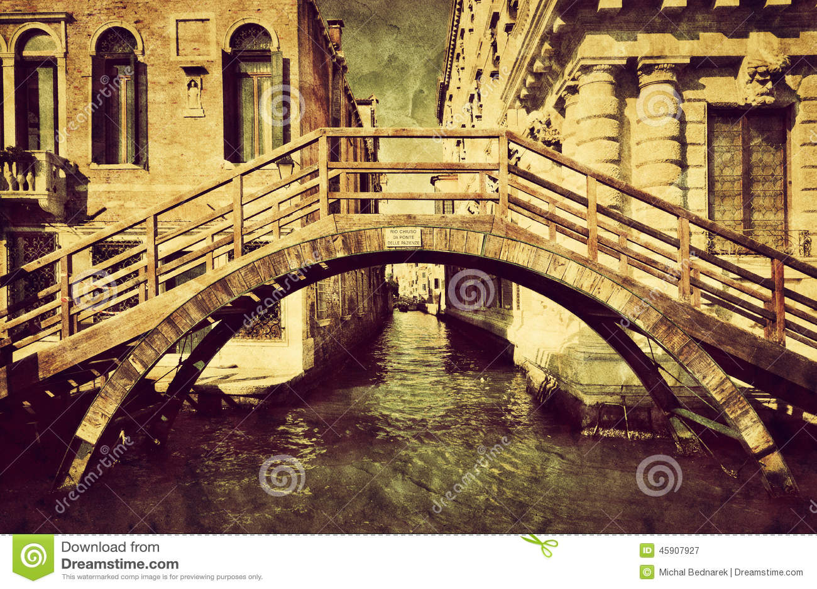 Tela dell annata di Venezia, Italia Un ponte romantico