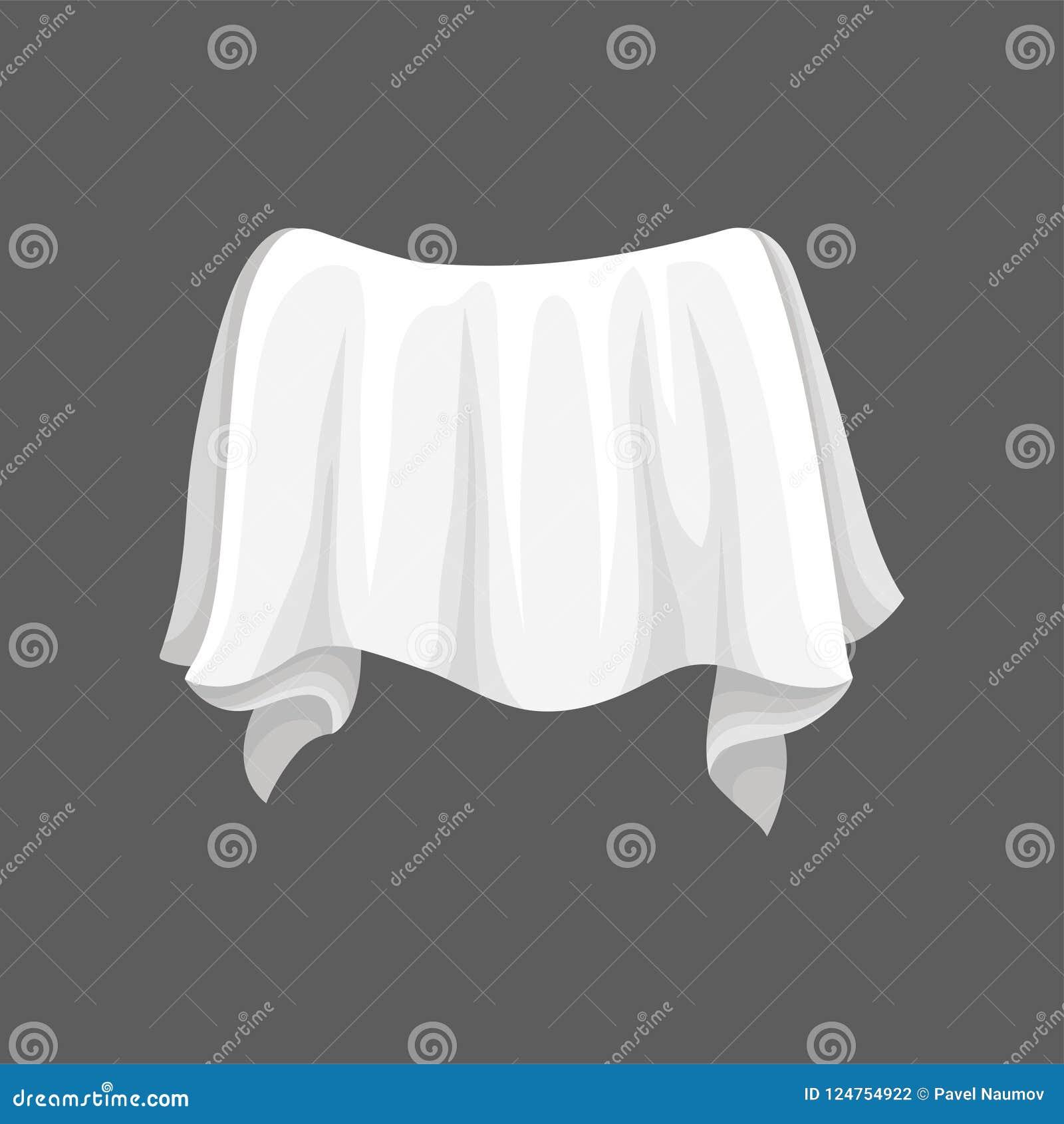 Tela do cetim com dobras onduladas Pano de seda branco Elemento liso do vetor para anunciar o cartaz ou o inseto da oficina ou