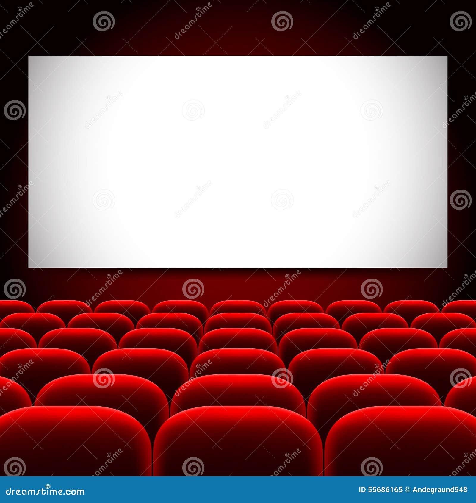 tela do cinema e fundo vermelho do vetor dos assentos ilustra o do vetor ilustra o de. Black Bedroom Furniture Sets. Home Design Ideas