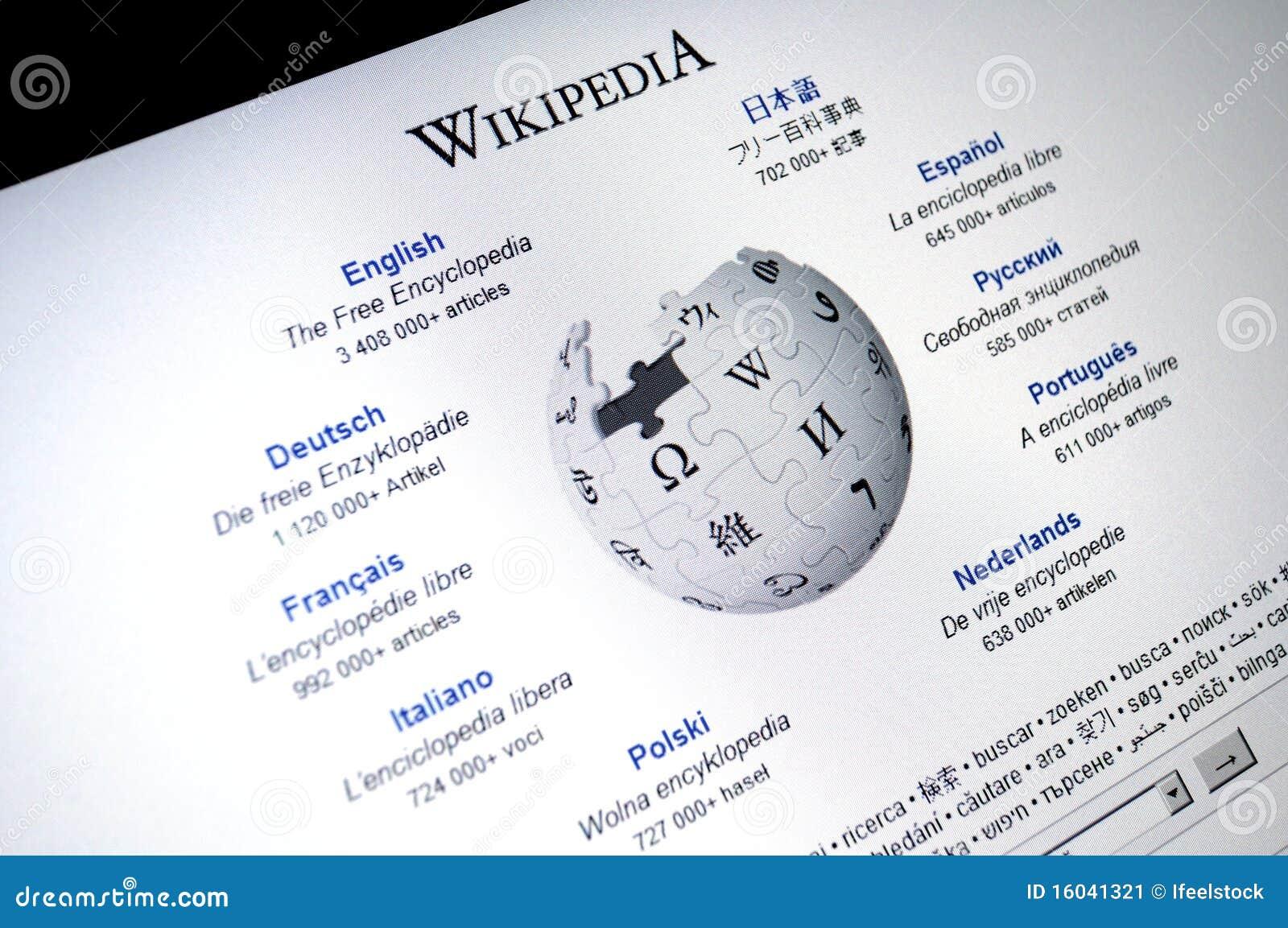 Tela do internet da pgina principal de wikipedia foto editorial download tela do internet da pgina principal de wikipedia foto editorial imagem de stopboris Images